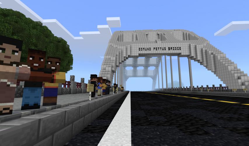 A crowd gathers alongside the Edmund Pettus Bridge in Minecraft: Education Edition