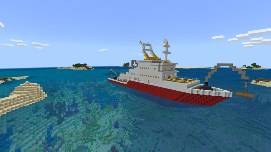 A ship suspends a platform over the ocean with a crane in Minecraft: Education Edition