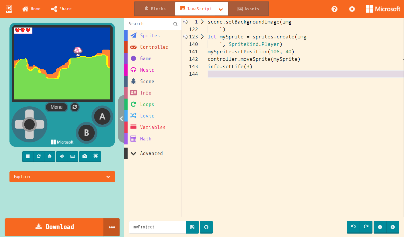 Microsoft MakeCode Arcade supports block-based programming and text-based programming with JavaScript and Python.