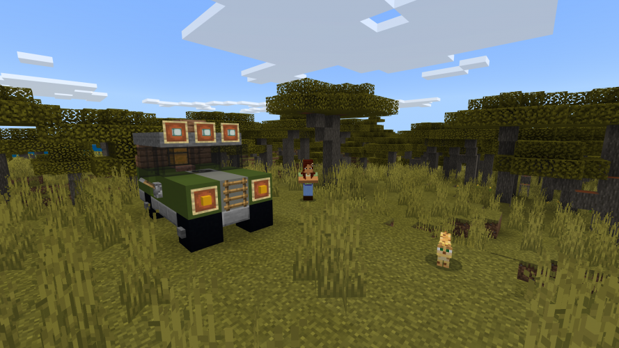 A 4x4 vehicle is parked next to a person and an ocelot in Minecraft: Education Edition
