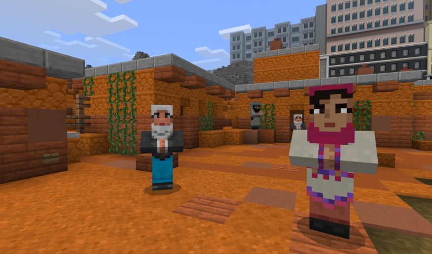 Malala stands near another person in a courtyard in Minecraft: Education Edition.