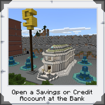 A neoclassical bank building in Minecraft: Education Edition with fountains and a giant dollar sign on a pedestal. Text reading