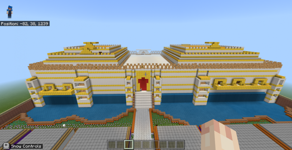 A giant palace in Minecraft: Education Edition