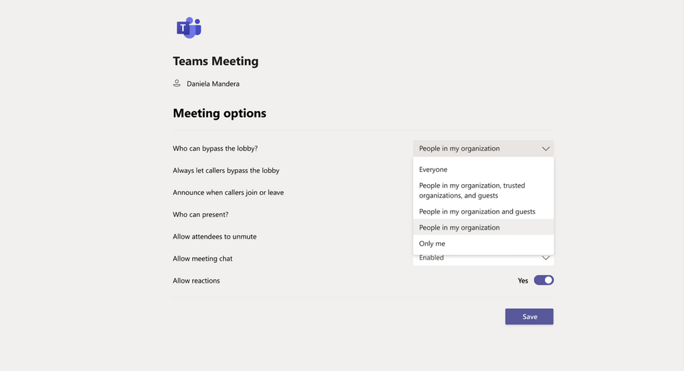 A screen shot of Meeting options in Microsoft Teams.