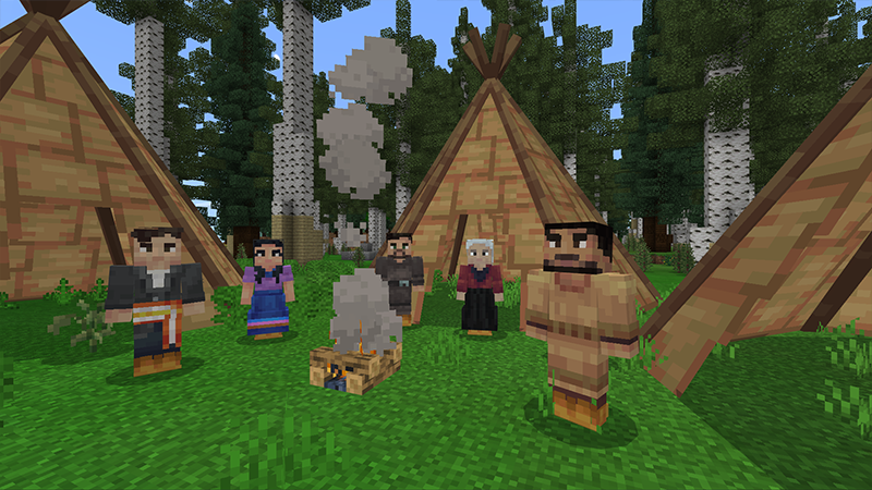A small group of Indigenous people stand around a campfire amidst several tipis.