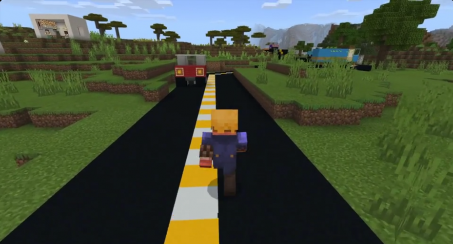 Terry Fox runs down a road in Minecraft: Education Edition