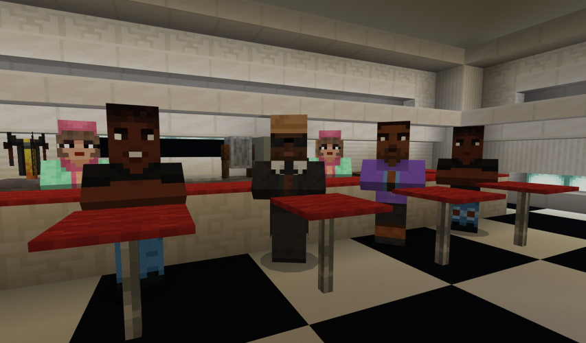A group of Black activists sit at lunch tables in a diner in Minecraft: Education Edition