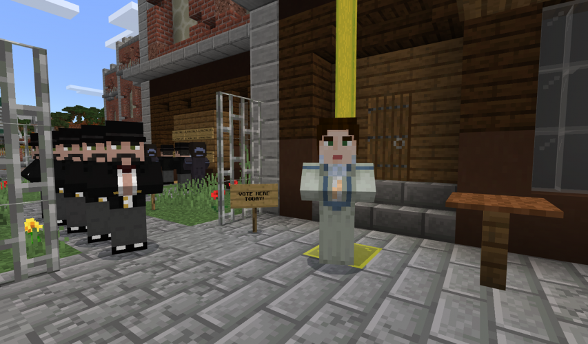 Emmeline Pankhurst stands near a voting line in Victorian England in Minecraft: Education Edition.