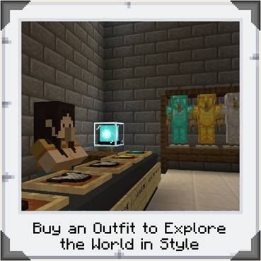 A counter and shop attendant at the back of a store, with outfits hanging in the background in Minecraft: Education Edition. Text reading
