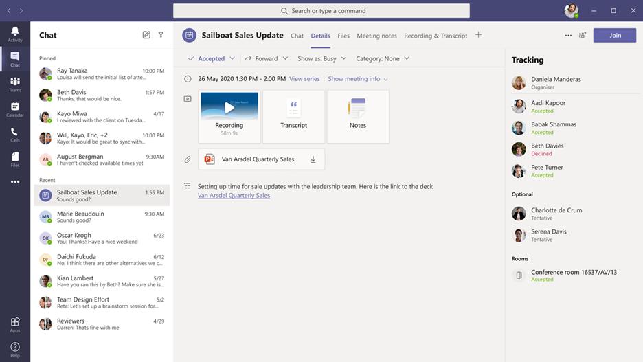 A screen shot showing meeting recap in Microsoft Teams.
