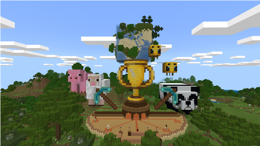 Giant statues of a pig, a sheep, a trophy, a cube-shaped globe, bees, an a panda in Minecraft: Education Edition