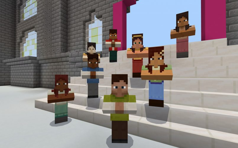 A diverse group of people stand on a wide staircase inside the entrance to a museum in Minecraft: Education Edition