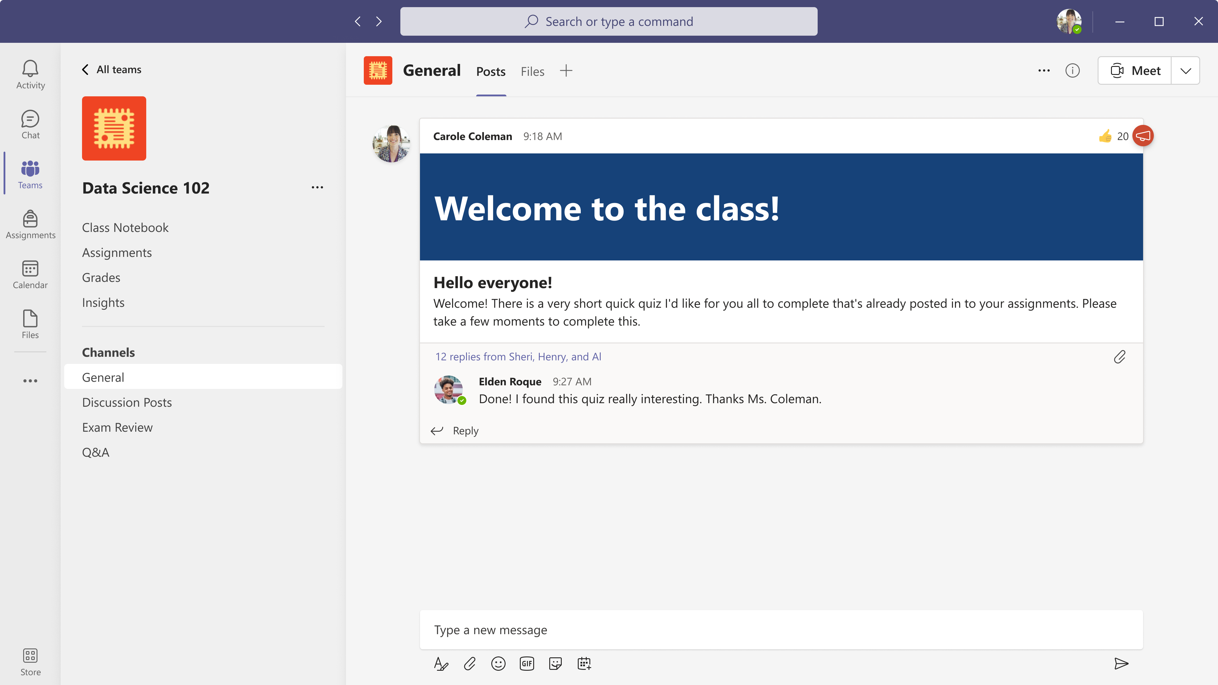 Microsoft Teams for Education interface showing navigation.