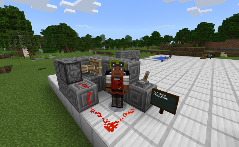 An inventor stands in front of a contraption featuring Redstone and a lever in Minecraft: Education Edition