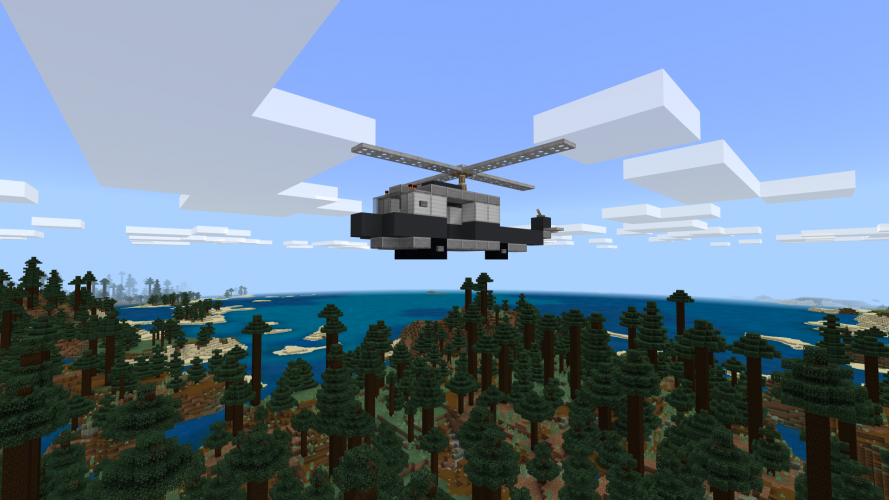 A helicopter flies above a forest in Minecraft: Education Edition.
