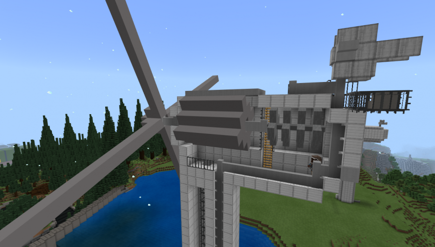 The body of a large wind turbine in Minecraft: Education Edition