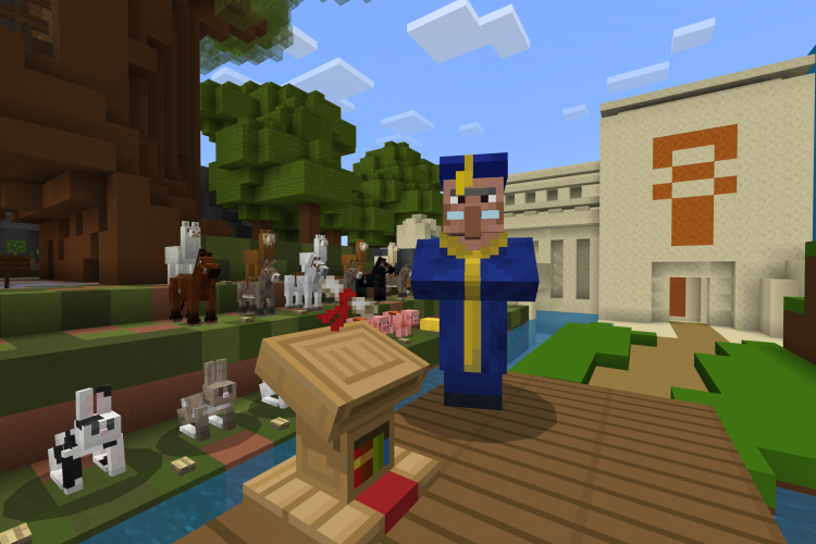A character in academic robes stands next to a podium with a diploma in front of a crowd of animals in Minecraft: Education Edition